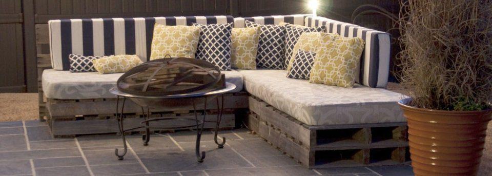 loungebank gemaakt van pallethout