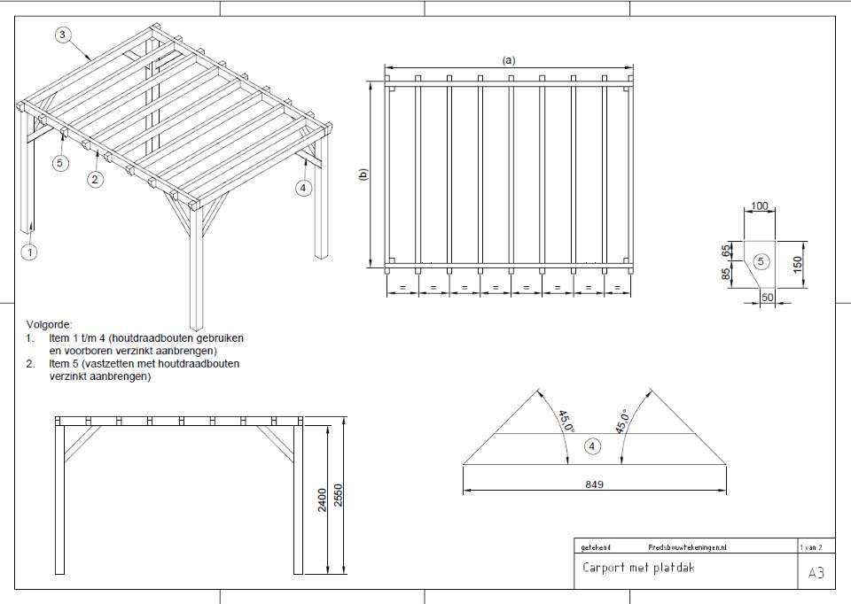 carport bouwen plat dak