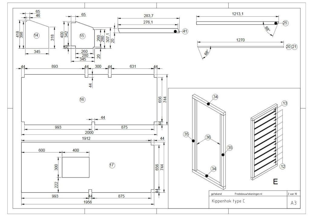 Voorbeeld bouwtekening uit de kippengids voor het bouwen van een kippenhok