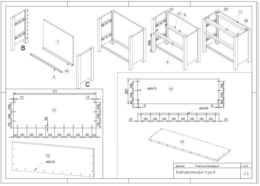 bouwtekening badkamermeubel van steigerhout