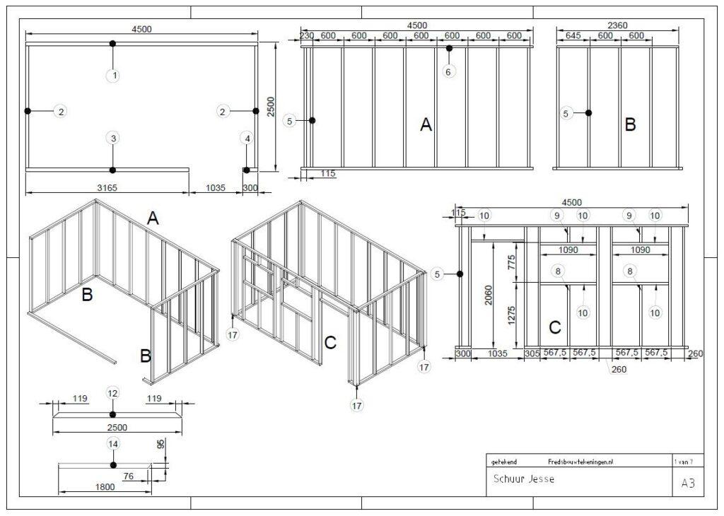 bouwtekening houten schuur
