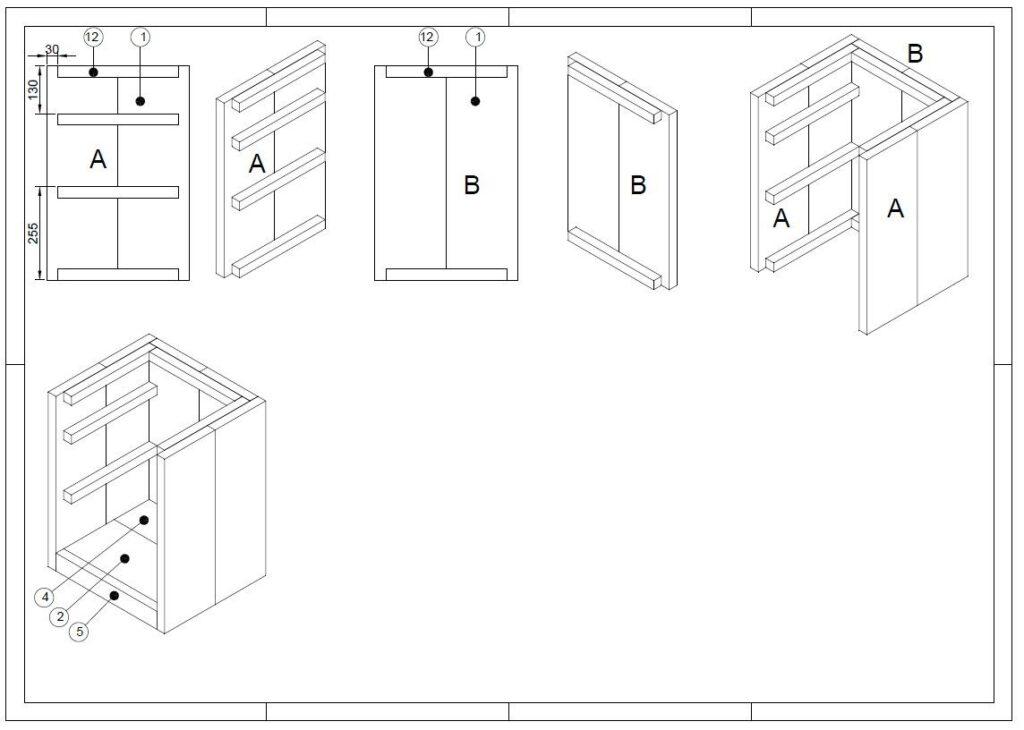 bouwtekening nachtkastje
