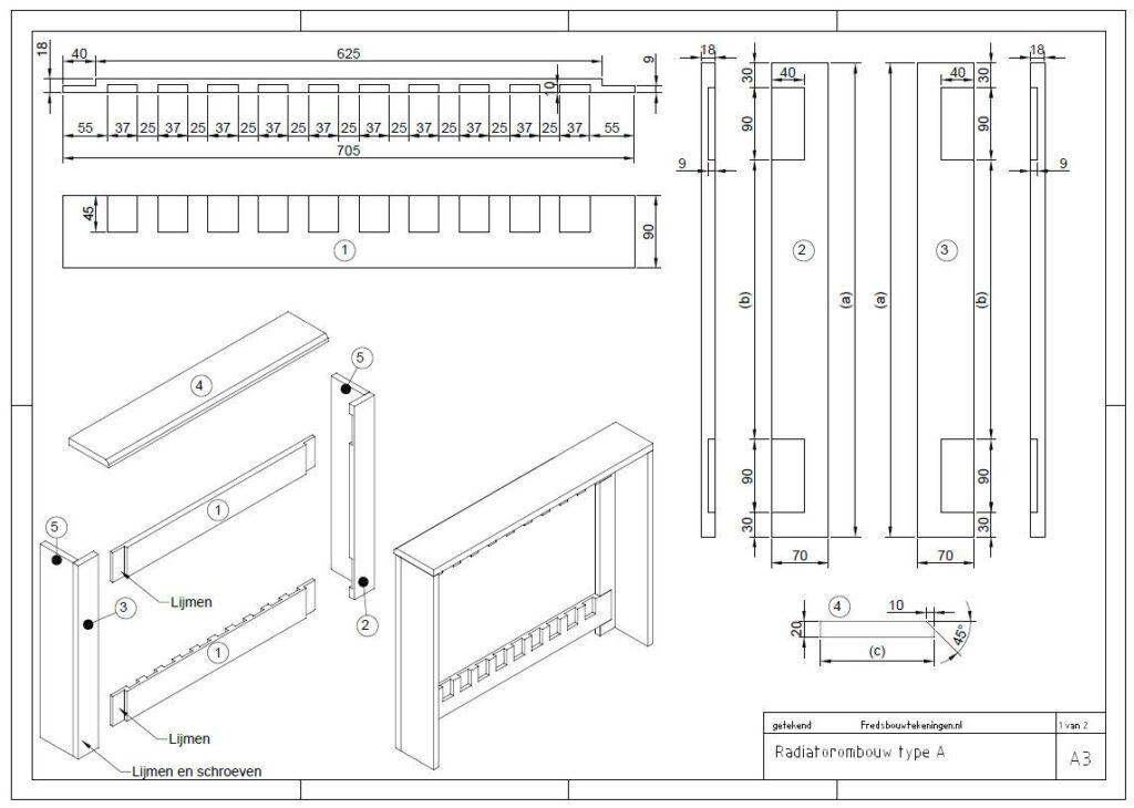 bouwtekening radiatorombouw