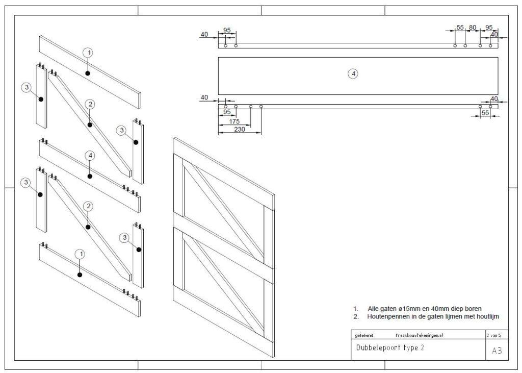 bouwtekening tuinpoort hout